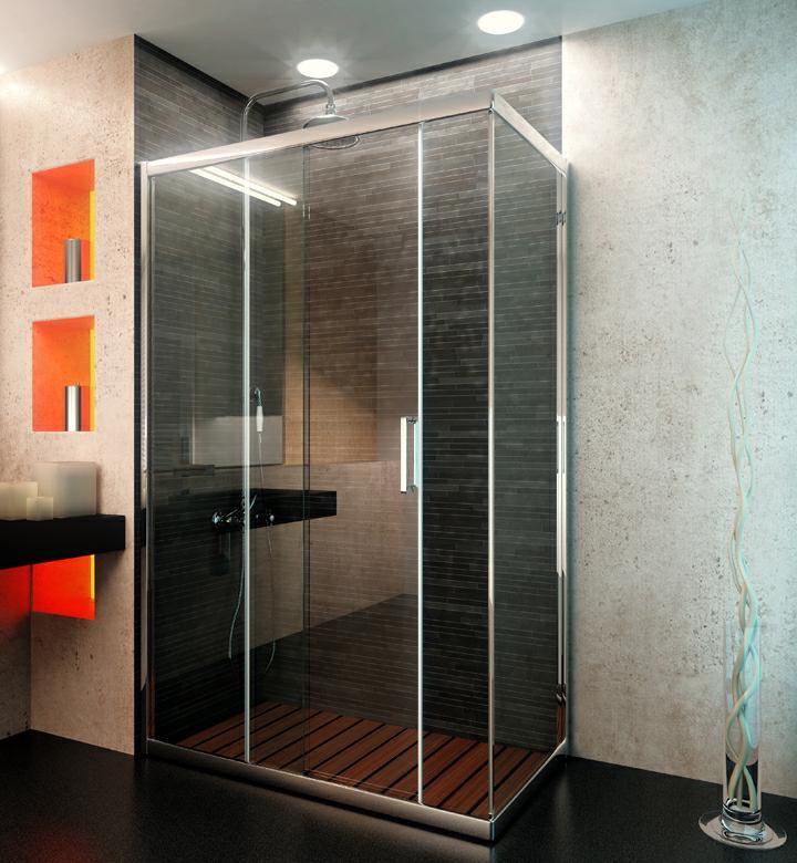 Iosna mampara corredera de ducha berna d1p 2f angular for Herrajes para mamparas ducha