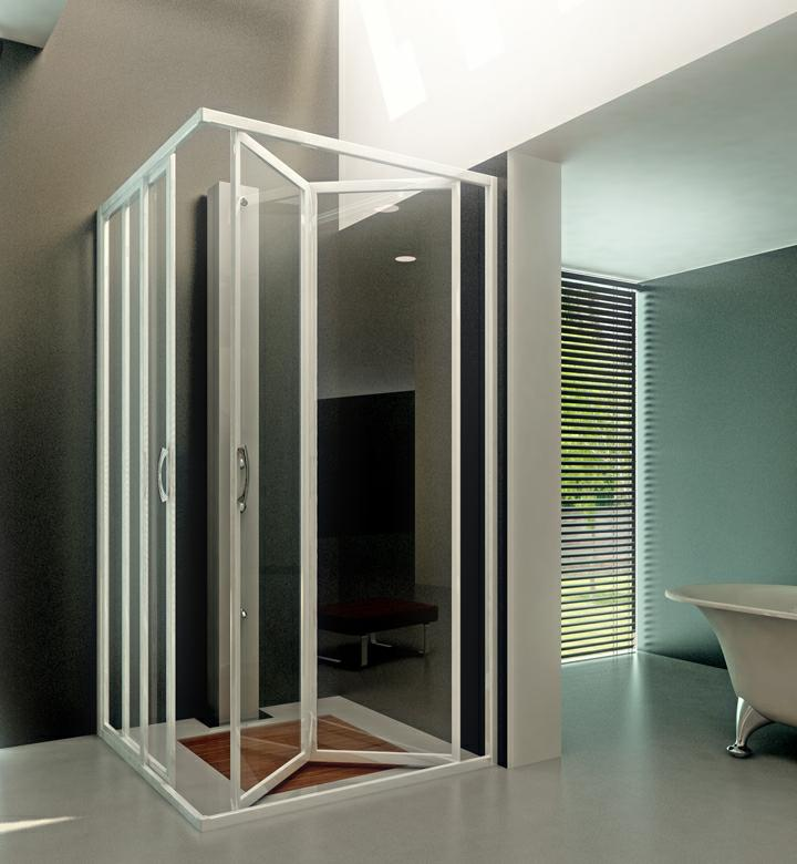 Iosna mampara mixta de ducha mod lineal dev con cristal - Mampara plegable ducha ...