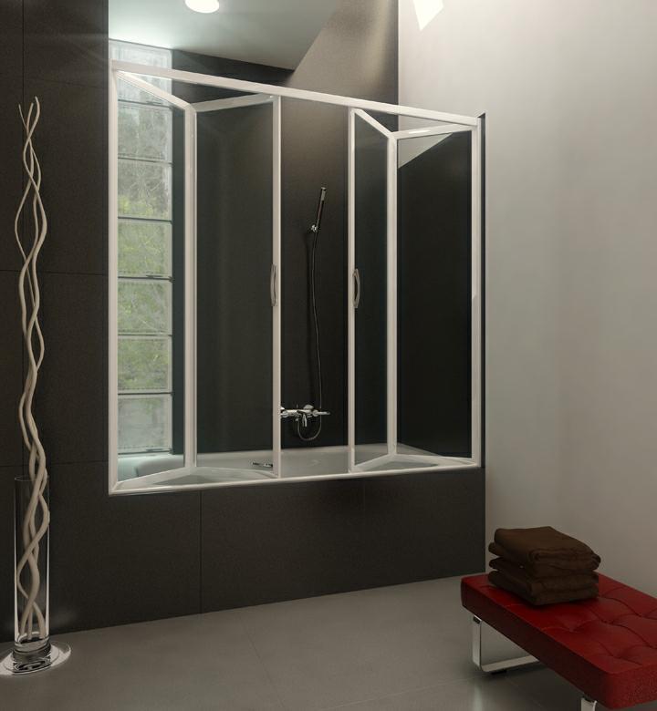 Iosna mampara plegable de bano mod lineal b4p con placa - Mampara plegable ducha ...